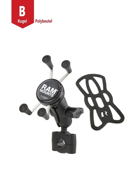 RAM Mounts Torque Motorradhalterung (Lenker/Rohre) mit X-Grip Universal Halteklammer für Smartphones