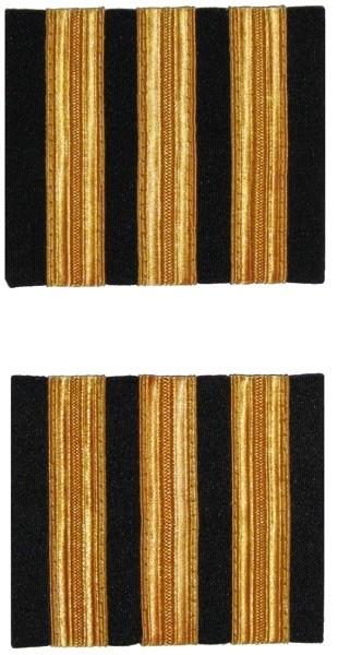 Premium Rangabzeichen Co-Pilot - Schulterstreifen für Piloten, drei Streifen, goldfarben