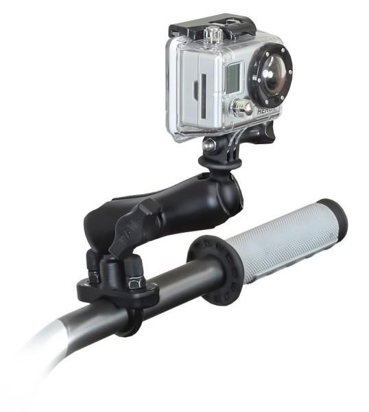 RAM Mounts GoPro Kamera-Halterung für Lenker/Rohre - mit Klemmschelle, B-Kugel (1 Zoll), im Polybeut