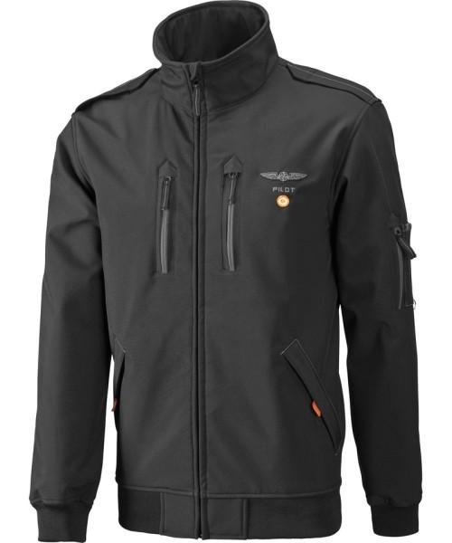 Pilot Jacket General Aviation, Softshell, black, water-repellent, wind sealed - incl. reflective vest