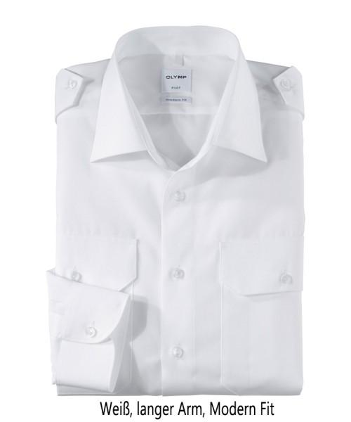 Pilotenhemd weiß - langer Arm, tailliert, modern fit