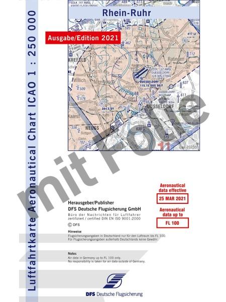 Rhein-Ruhr ICAO Karte 2021 Motorflug 1:250.000 mit Folie