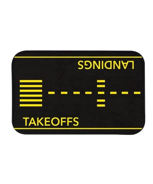 "Takeoffs and Landings Doormat - black-yellow, 18"" x 30"""