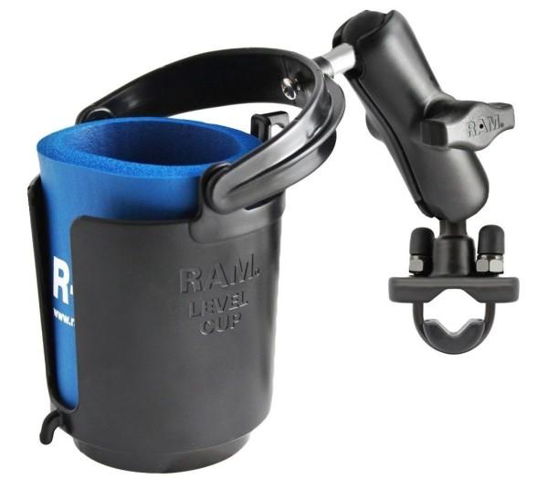 RAM Mounts Rohrhalterung mit Getränkehalter - mit Klemmschelle, B-Kugel (1 Zoll), im Polybeutel