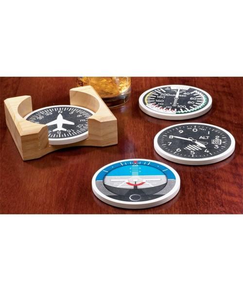 Instrument Stoneware Coasters - Whetstone, incl. wooden holder, set of 4