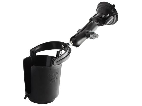 RAM Mounts Saugfusshalterung mit Getränkehalter (ohne Schaumgummieinlage) - mit Saugfuss, B-Kugel (1
