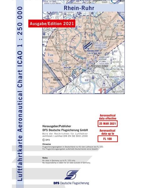 Rhein-Ruhr ICAO Karte 2021 Motorflug 1:250.000 ohne Folie