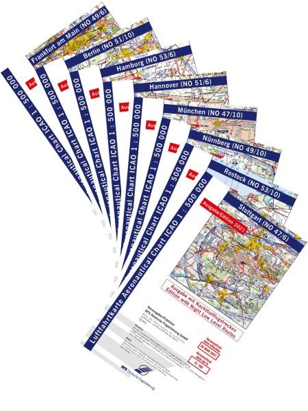 Satz ICAO Karten Deutschland 2021 MF inkl. Nachttiefflugstrecken - ohne Folie, gefaltet
