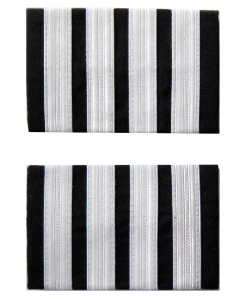 Premium Rangabzeichen Flugkapitän - Schulterstreifen für Piloten, vier Streifen, silberfarben